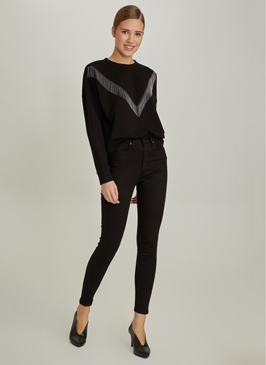 NGSTYLE Yüksek Bel Skinny Pantolon Siyah